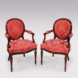 Pair Hepplewhite period mahogany Armchairs