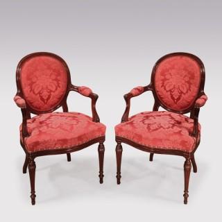 Pair Hepplewhite period mahogany Armchairs