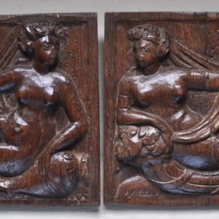 Pair of Renaissance Oak Panels