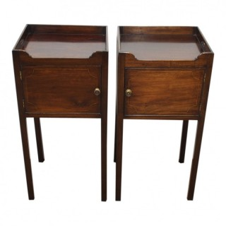 Rare Pair of George III Style Inlaid Mahogany Lockers