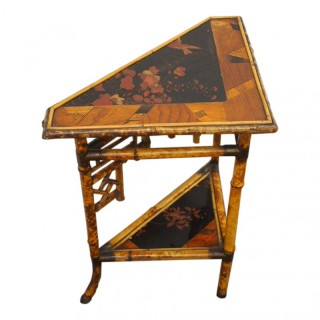 Unusual Japanese Bamboo Inlaid and Lacquered Corner Table