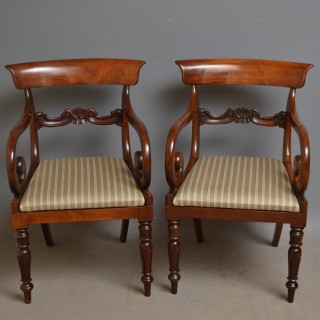 Pair of William IV Elbow Chairs – Mahogany Carvers