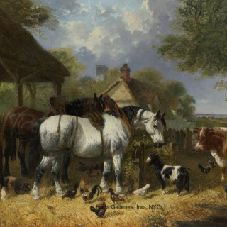 Horses, Goat, Cow, Pigs and Poultry in a Farmyard