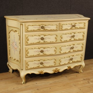 Italian Lacquered, Painted, Gilt Chest Of Drawers In Wood From 20th Century