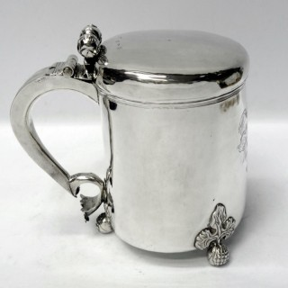 Antique Charles II Newcastle Silver Peg Tankard