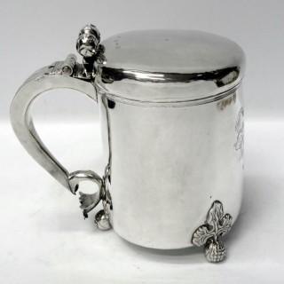 Antique Charles II Newcastle Silver Peg Tankard