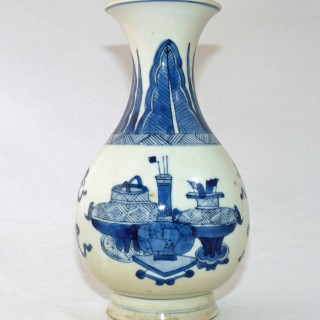 Kangxi Blue and White Pear Shaped Bottle Vase