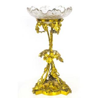 Antique Victorian Gilt Bronze, Ormolu & Crystal Centre Piece 19th C