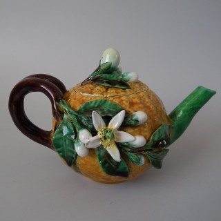 Menton Majolica Orange Teapot & Cover