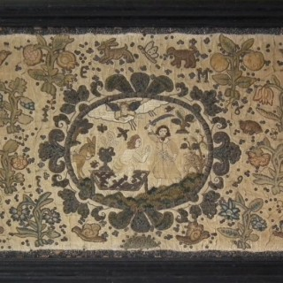 1639 Stumpwork Embroidery, 'Abraham & Isaac' by EM