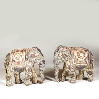 DECORATIVE PAIR OF INDIAN ELEPHANTS WITH MOSAIC AND WIREWORK DECORATION