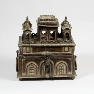 A WHIMSICAL INDIAN BRASS BOX AS A TEMPLE