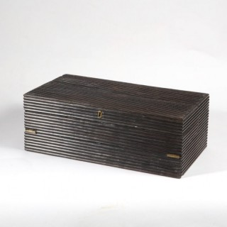 A INDIAN REEDED EBONY WRITING BOX
