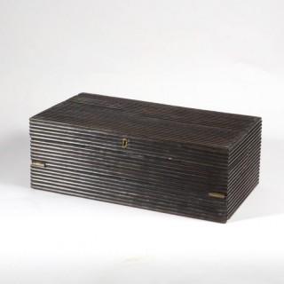A INDIAN REEDED EBONY WRITING BOX
