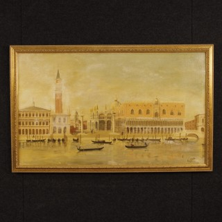 Dutch Oil Painting On Canvas View Of Piazza San Marco In Venice Signed And Dated 1965