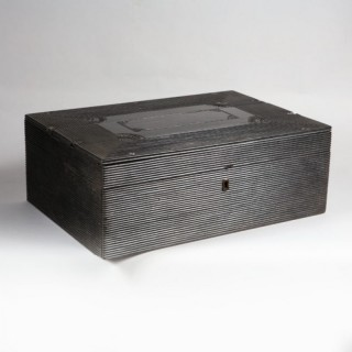 A LARGE INDIAN EBONY BOX