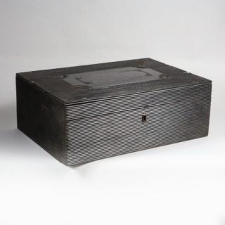 A LARGE INDIAN EBONY BOX