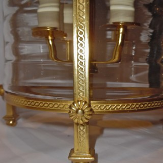 A French ormolu mounted ribbed glass lantern