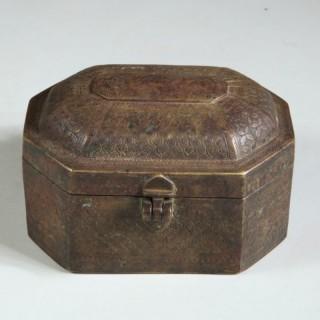 AN INDIAN BRASS BOX – 19TH CENTURY