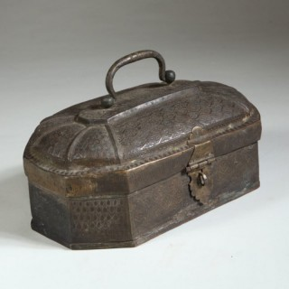 A 19TH CENTURY TOOLED BRASS BOX