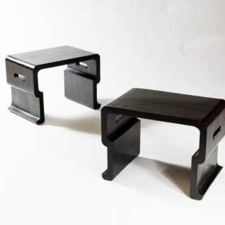 PAIR OF EBONY SIDE TABLES