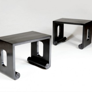 PAIR OF SOLID EBONY SIDE TABLES