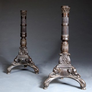 PAIR OF EBONY CEYLONESE TORCHERES
