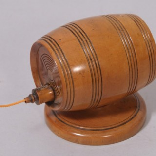 Antique Treen 19th Century Boxwood String Barrel