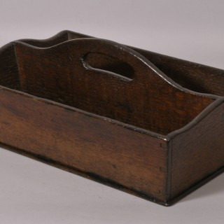 Antique 19th Century Two Division Oak Cutlery Tray