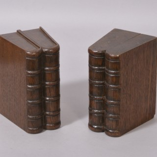 Antique Treen 19th Century Pair of Oak Book Ends