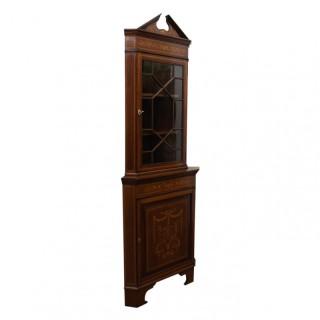Sheraton Style Inlaid Corner Cabinet