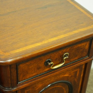 Unusually Large Pair of Victorian Inlaid Walnut Bedsides