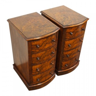 Pair of Neat Victorian Walnut Bowfront Chest of Drawers or Bedsides