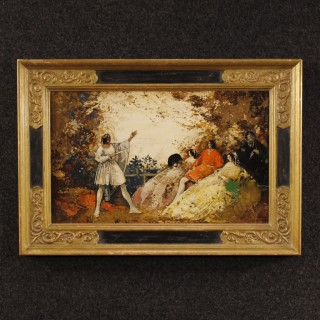 French Signed Painting Romantic Landscape With Characters Oil On Board From 20th Century