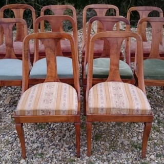 Set of 10 Beidermeier Walnut Antique Dining Chairs