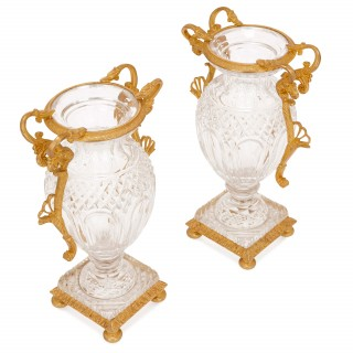 Two 19th Century cut glass and gilt bronze vases