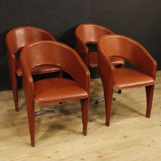 Group Of 4 Italian Design Chairs In Leather And Metal From 20th Century