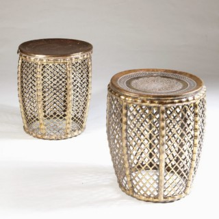 PAIR OF BRASS STOOLS