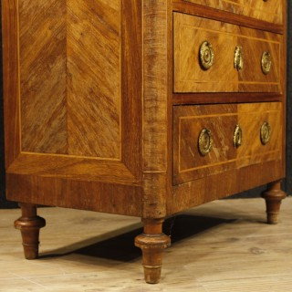 French Inlaid Secrétaire In Walnut, Rosewood, Mahogany, Maple With Marble Top 19th Century