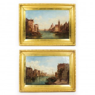 Antique Pair Oil Paintings Grand Canal Venice Alfred Pollentine 19th C