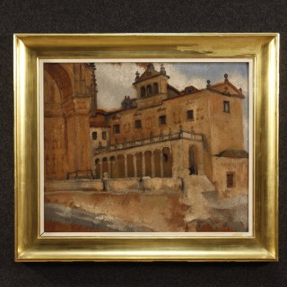 Belgian Signed Painting Oil On Board Landscape With Architectures From 20th Century
