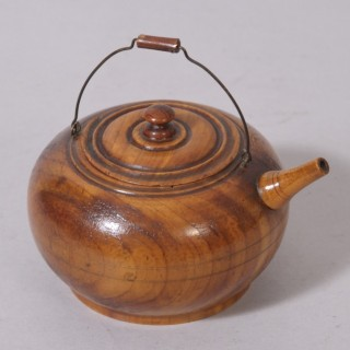 Antique Treen 19th Century Cedar Wood Miniature Kettle