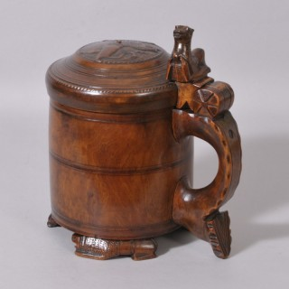 Antique Treen 18th Century Birch Peg Tankard