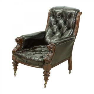 Library Armchair in Mahogany and Leather