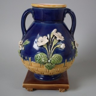 Minton Majolica Two Handled Floral Vase
