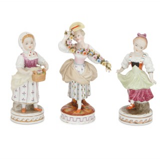 Set of twelve Dresden porcelain figures and groups