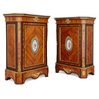Pair of antique French wooden cabinets with Sevres style porcelain plaques