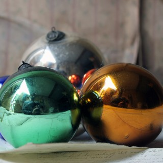 A Mixed Group of Eight Victorian Mercury Glass Witches Balls c.1900