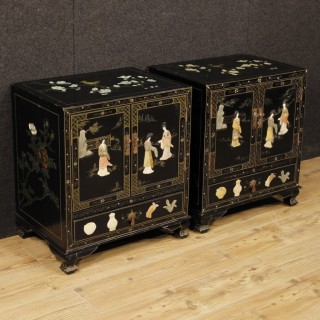 Pair Of French Chinoiserie Bedside Tables In Lacquered And Painted Wood