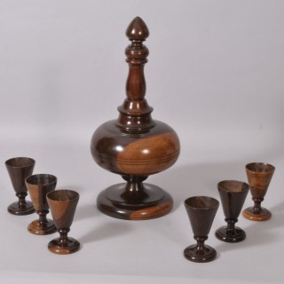 Antique Treen 19th Century Lignum Vitae Decanter and Set of Six Goblets